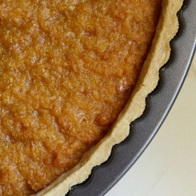 Treacle tart after baking